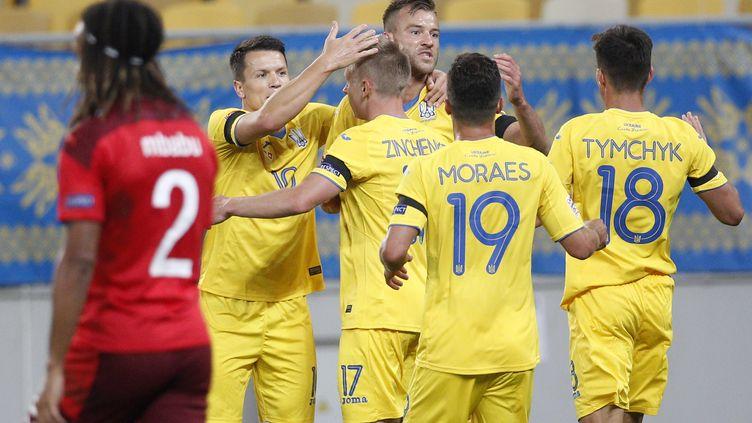 L'équipe d'Ukraine fait son retour au stade de France pour la première fois depuis novembre 2013 (ANATOLII STEPANOV / AFP)