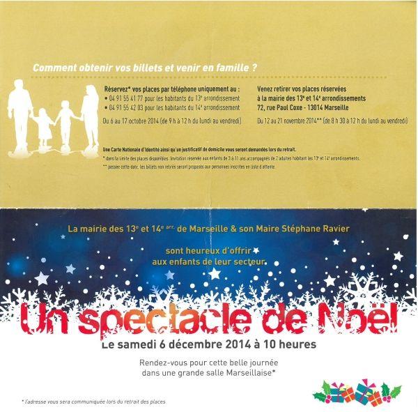 L'invitation pour le spectacle de Noël diffusé par le quotidien La Marseillaise. (MAIRIE DU 7E SECTEUR DE MARSEILLE)
