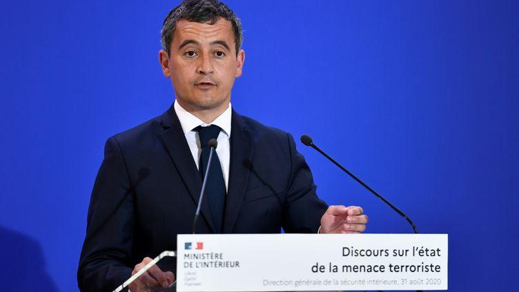 Le minstre de l'Intérieur Gérald Darmanin lors de son discours sur l'état de la menace terroriste à la Direction générale de la sécurité intérieur (DGSI), le 31 août 2020. (STEPHANE DE SAKUTIN / AFP)