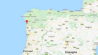 Deux personnes ont été arrêtéeslors d'une opération d'interception d'un sous-marin chargé de cocaïne à Cangas (Espagne), le 24 novembre 2019. (GOOGLE MAPS)