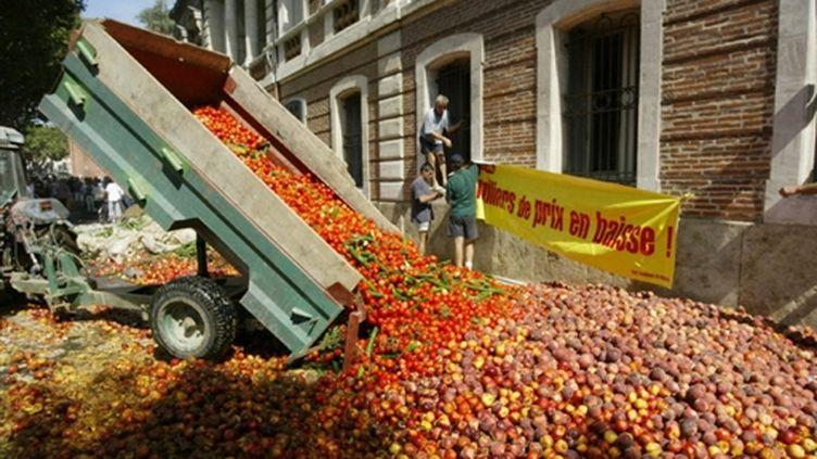 Fruits déversés devant la préfecture de Perpignan le 28 août 2004 (© AFP. R.Roig)