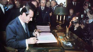 Jacques Chirac, lors de son installation à la mairie de Paris après son élection, le 25 mars 1977. (- / AFP)