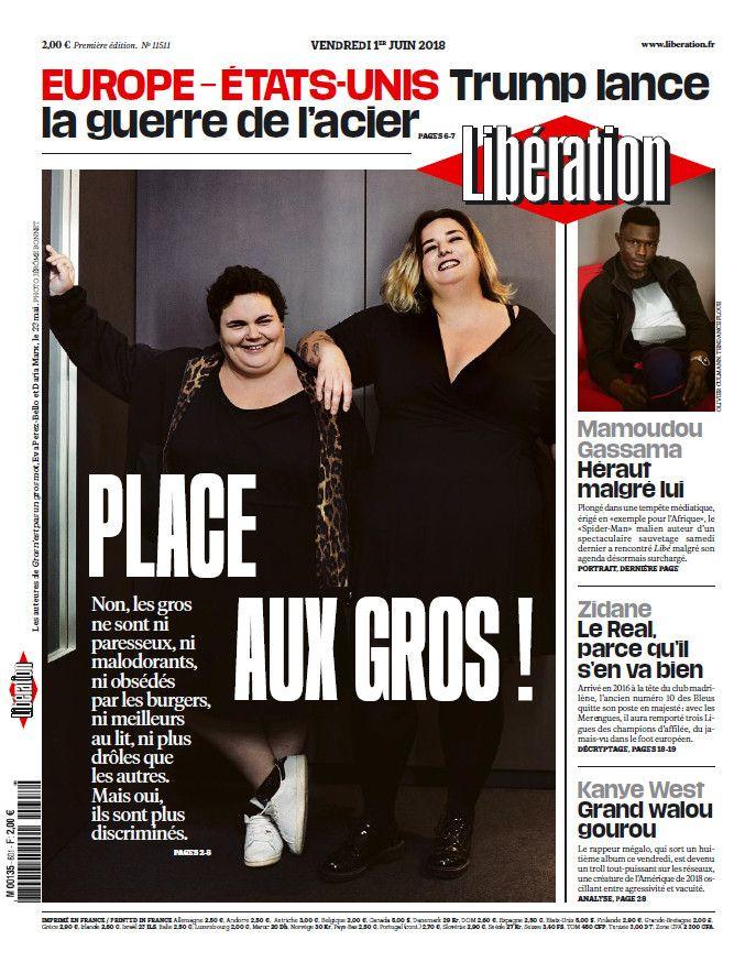 """Une du journal Libérationdu 1er juin 2018 qui titrait """"Place aux gros"""" (LIBERATION)"""