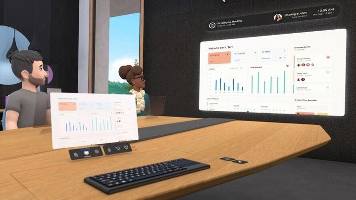 """Une réunion virtuelle sur l'application """"Horizon Workrooms"""", lancée par l'entreprise Facebook le 19 août 2021. (FACEBOOK)"""
