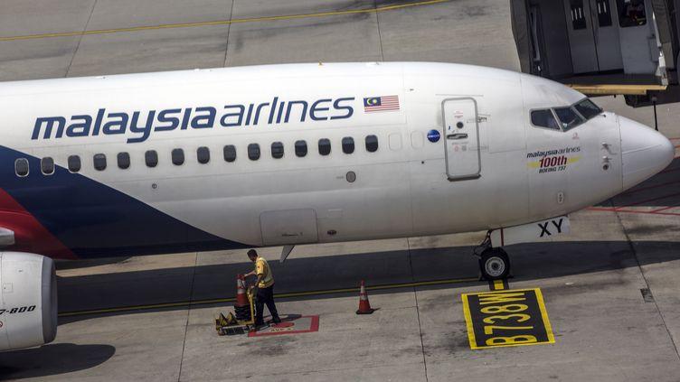 Un avion de la Malaysia Airlines, le 8 mars 2019 à Kuala Lumpur (Malaisie). (AHMAD YUSNI / EPA)