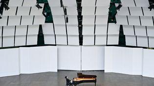 Le concert du pianiste russeDmitry Sin, le 5 août 2019, lors de la 39e édition du festival de piano deLa Roque-d'Antheron. (GERARD JULIEN / AFP)