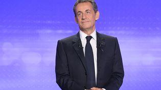 Nicolas Sarkozy, le 17 novembre à Paris, lors du troisième débat de la primaire. (CHRISTOPHE ARCHAMBAULT / AFP)