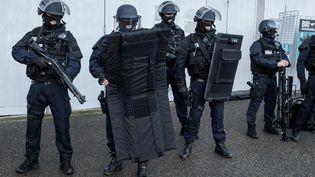 Des membres de la BRI et de la BAC, lors de la cérémonie des vœux à la police, à Saint-Cyr-au-Mont-d'Or, le 15 janvier 2015. (MAXPPP)