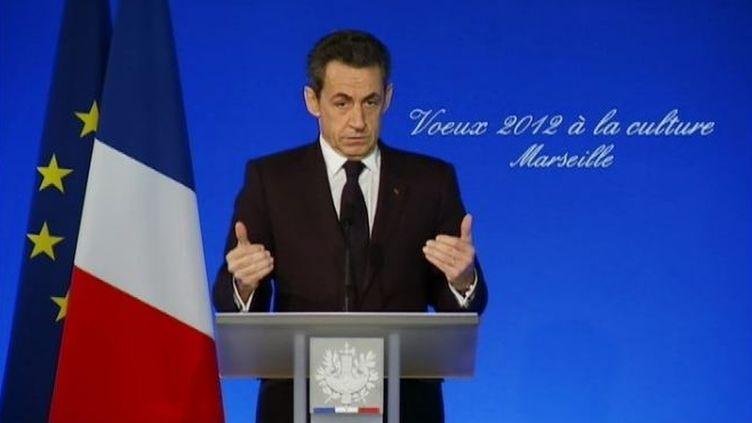 Nicolas Sarkozy présente ses vœux au monde de la culture, à Marseille (Bouches-du-Rhône), le 24 janvier 2012. (FTVi / FRANCE 2)