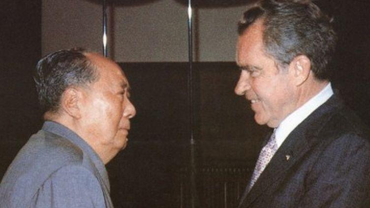 La rencontre en 1972 à Pékin entre Mao et Nixon: un des résultats de la «diplomatie du ping-pong» (AFP - Xinhua)