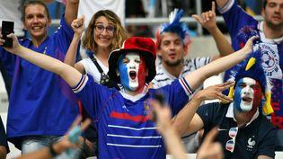 Un supporter de l'équipe de France, le 15 juin 2016 à Marseille (Bouches-du-Rhône). (FEDERICO GAMBARINI / DPA / AFP)