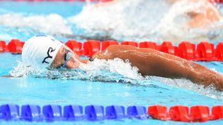 Les Françaises Charlotte Bonnet, Coralie Balmy, Margaux Favre et Ophélie-Cyrielle Etienne lors des séries du relais 4X200 m nage libre,aux championnats du monde de natation, àKazan (Russie), le 6 août 2015. (STEPHANE KEMPINAIRE / STEPHANE KEMPINAIRE)