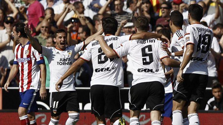 La joie des joueurs de Valence (BIEL ALINO / AFP)
