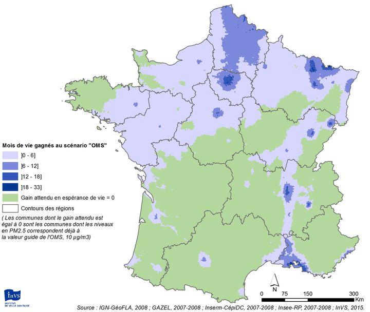 L'espérance de vie gagnée en cas de respect des recommandations de l'OMS en terme de niveaux de particules finales PM2.5, selon l'étude de Santé Publique France. (SANTE PUBLIQUE FRANCE)