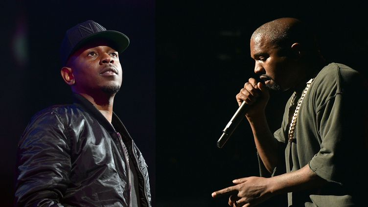 Kendrick Lamar et Kanye West (montage).  (Mike Coppola / Getty /AFP and Kevin Winter / Gettty / AFP)