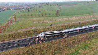 Photo aérienne du déraillement d'un TGV à Ingenheim (Bas-Rhin), le 5 mars 2020. (SDIS67)