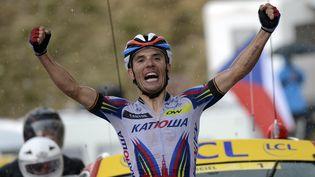 L'Espagnol Joaquim Rodriguez remporte la 12e étape du Tour de France, jeudi 16 juillet 2015, au plateau de Beille (Ariège). (JEFF PACHOUD / AFP)