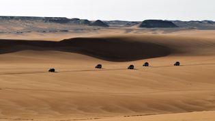 Des véhicules parcourent le désert, le 24 mars 2014, dans la région de Gilf El-Kebir, dans le sud-ouest de l'Egypte. (MATTHIAS TOEDT / ZB / AFP)