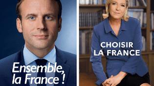 Les affiches de campagne des deux candidats, Emmanuel Macron et Marine Le Pen, pour le second tour de la présidentielle. (FRANCEINFO)