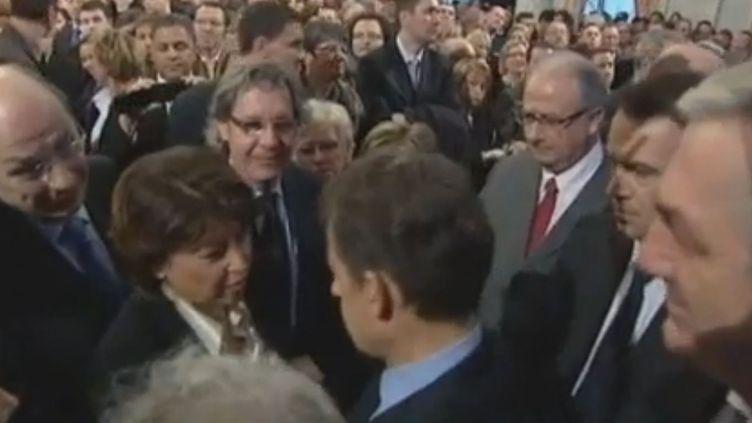 Martine Aubry etNicolas Sarkozy lors des vœux du chef de l'Etat à Lille (Nord), le 12 janvier 2012. (FTVi)