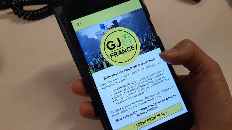 L'application GJ-France, le 18 janvier 2019, à Paris. (RAPHAEL GODET / FRANCEINFO)