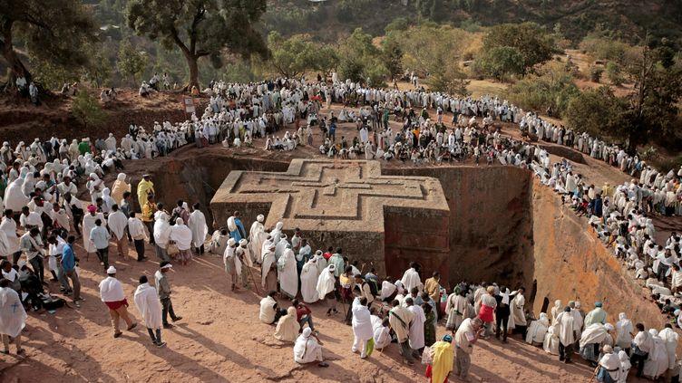Pèlerinage de l'Epiphanie sur le site de la cité monastique de Lalibela en Ethiopie, le 6 janvier 2018. (TIKSA NEGERI / X03719)