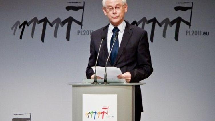 Le président de l'UE, Herman Van Rompuy, prononce un discours à Varsovie (Pologne), le 1er juillet 2011. (AFP - Wojtek Radwanski)