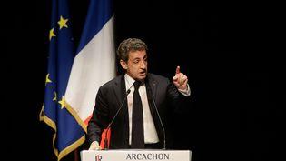 Nicolas Sarkozy lors d'un metting, à Arcachon, jeudi 23 juin 2016. (THIBAUD MORITZ / AFP)