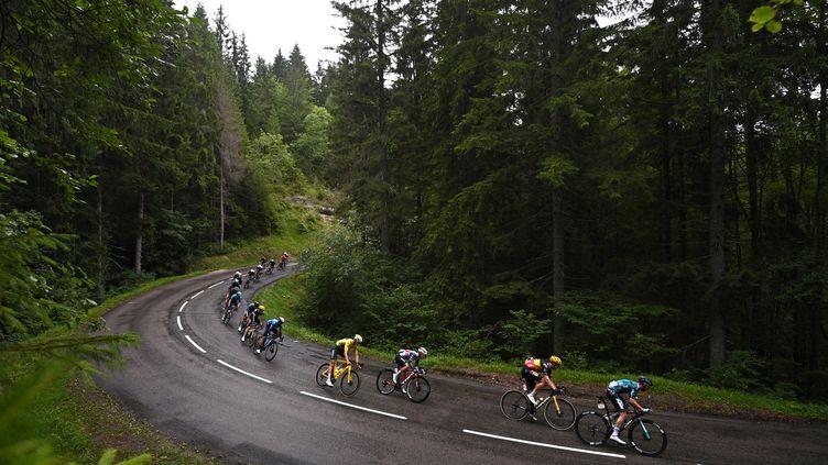 Mathieu van der Poel, en jaune, lors de la 8e étape du Tour de France entre Oyannax et Le Grand-Bornand, le 3 juillet 2021. (ANNE-CHRISTINE POUJOULAT / AFP)