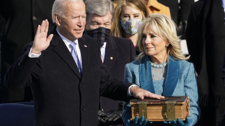 Joe Biden, le 20 janvier 2021, lors de son investiture en tant que président des Etats-Unis (ANDREW HARNIK / MAXPPP)