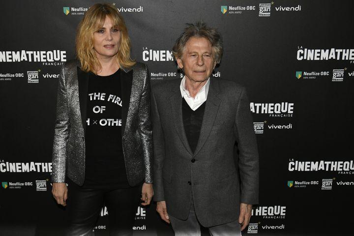 Emmanuelle Seigner et Roman Polanski à la Cinémathèque de Paris le 30 octobre 2017  (Lionel BONAVENTURE / AFP)