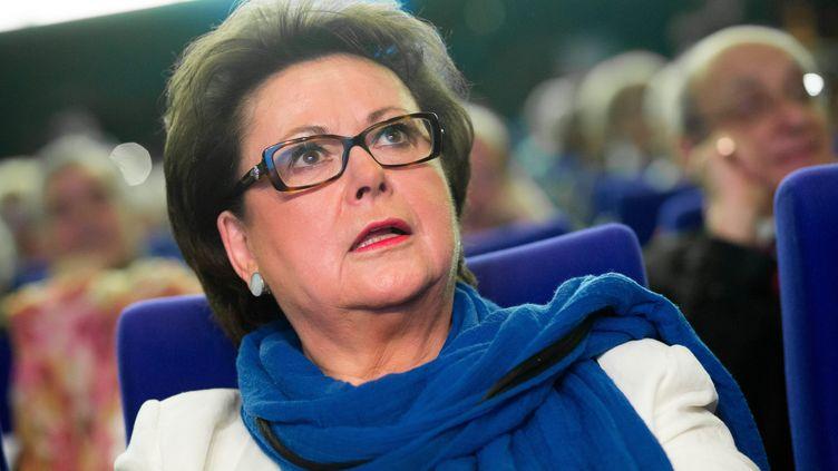 """Christine Boutin lors d'un meeting de """"Force Vie"""" à Paris pour les élections européennes, le 17 mai 2014. (MAXPPP)"""