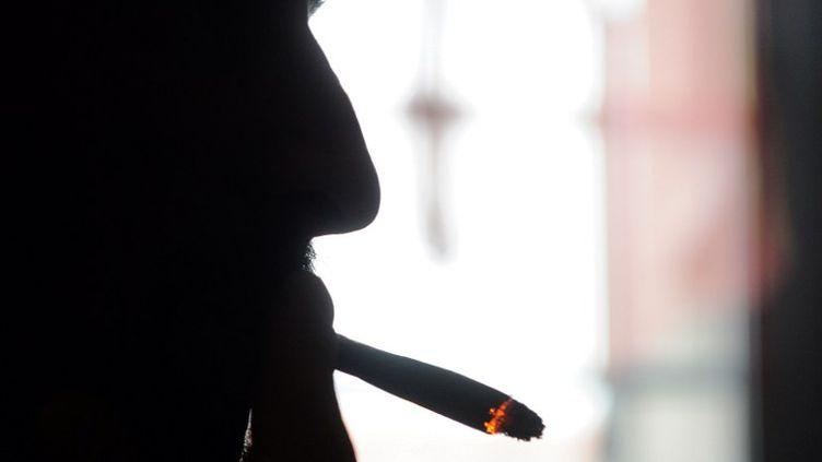 """Souffrant de myopathie, Dominique Loumachi, photographié le 28 février 2013 à Belfort,affirme fumer du cannabis par """"nécessité"""" thérapeutique. (SEBASTIEN BOZON / AFP)"""
