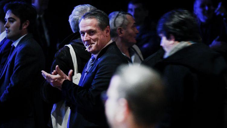 Le frontiste Philippe Olivier, le 4 février 2017, lors d'une convention du FN à Lyon. (STR / AFP)