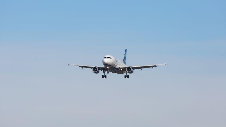 Un Airbus A320-200 s'approche de l'aéroportJohn F. Kennedy de New York, en 2019. (NICOLAS ECONOMOU / NURPHOTO / AFP)