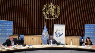 Conférence de presse de l'OMS sur le coronavirus, le 3 juillet 2020 à Genève, en Suisse. (FABRICE COFFRINI / AFP)