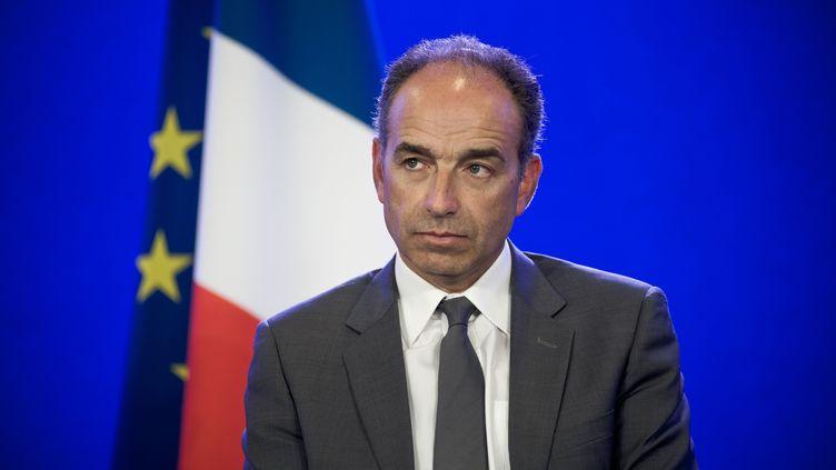 Le président démissionnaire de l'UMP, Jean-François Copé, lors d'une conférence de presse à Paris, le 24 avril 2014. (NICOLAS MESSYASZ / SIPA)