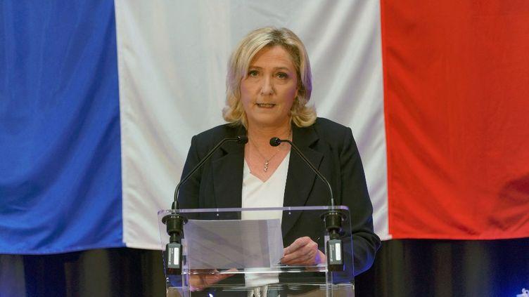 Marine Le Pen, présidente du Rassemblement national, le 20 juin 2021 à Hénin-Beaumont (Pas-de-Calais). (SYLVAIN LEFEVRE / HANS LUCAS / AFP)