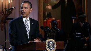 """Barack Obama lors de la soirée """"Red, White and Blues"""" à la Maison Blanche, le 22/02/12  (SIPA)"""