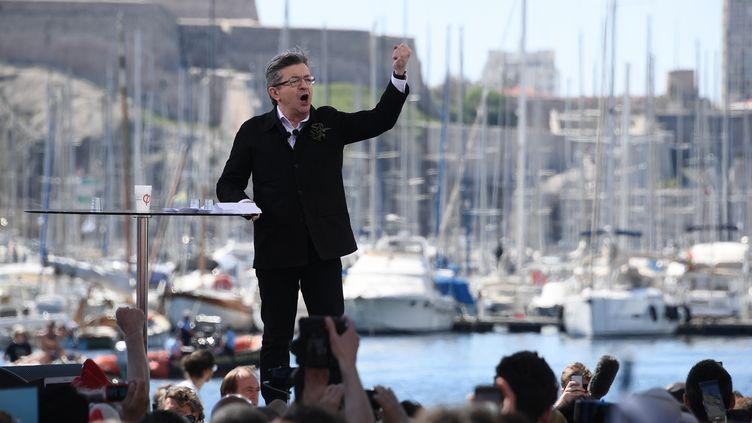 Jean-Luc Melenchon lors de son meeting sur le Vieux-port à Marseille, le 9 avril 2017. (ANNE-CHRISTINE POUJOULAT / AFP)