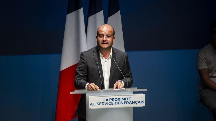David Rachline lors d'un discours à Fréjus (Var), le 15 septembre 2019. (FREDERIC DIDES / HANS LUCAS)