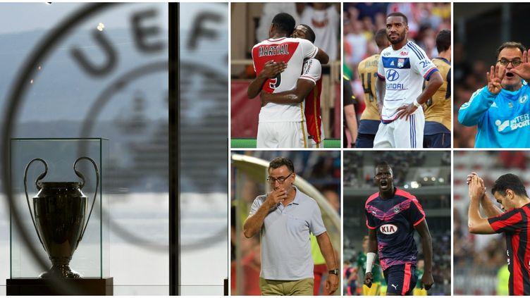 Anthony Martial (Monaco), Alexandre Lacazette (Lyon), Marcelo Bielsa (Marseille), Christophe Galtier (Saint-Etienne), Cheick Diabaté (Bordeaux) et Hatem Ben Arfa (Nice).