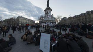 La place de la République, le 10 avril 2016, pour la onzième Nuit debout à Paris. (JOEL SAGET / AFP)