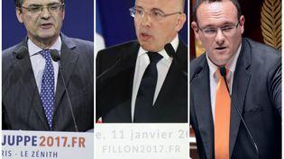 Patrick Devedjian, Eric Ciotti et Damien Abad (de gauche à droite) font partie des présidents de départements qui ont signé la tribune en soutien de Fillon. (AFP)