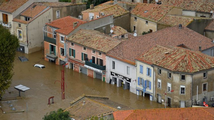 Trèbes inondé par les eaux, le 15 octobre 2018. (SYLVAIN THOMAS / AFP)