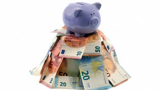 Une tirelire en forme de cochon sur une montagne de billets de banque. Photo d'illustration. (RICHARD VILLALON / MAXPPP)