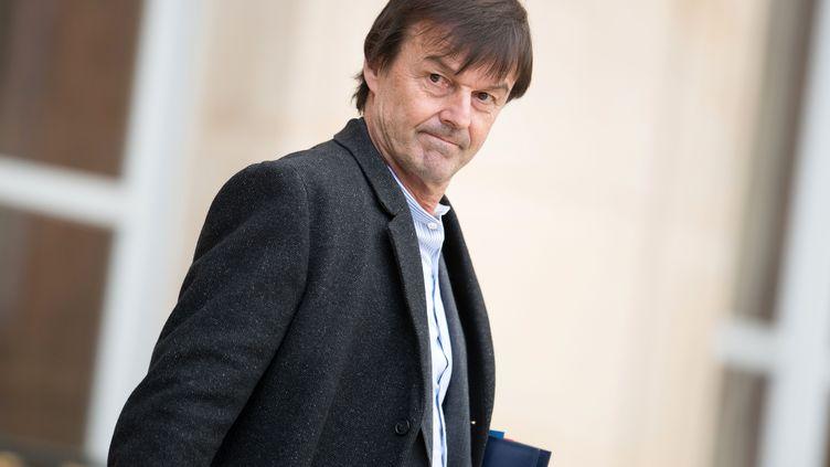 Le ministre de la Transition écologique, Nicolas Hulot, quitte l'Elysée, le 17 janvier 2018. (PDN/SIPA)