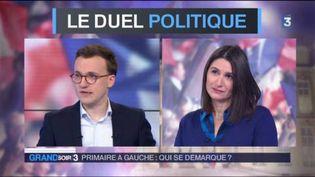 Anne Rosencher de L'Express et Tristan Quinault Maupoil du Figaro analysent le 3e débat de la primaire de la gauche. (FRANCE 3)