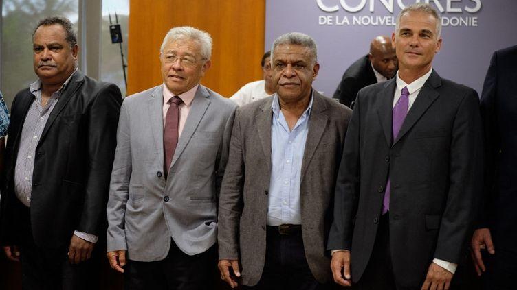 Les nouveaux membres du gouvernement de Nouvelle-Calédonie, le 17 février 2021, à Nouméa. (THEO ROUBY / AFP)