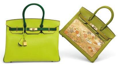 Birkin 30 d'Hermès aux coloris vert-Anis et vert-Chartreuse, sur lequel est rapporté un carré de soie provenant d'un kimono, sur le devant et au dos du sac. Ces modèles, parmi les plus rares de la production Hermès, sont habituellement réservés aux clients les plus importants et aux événements marquants. Vente Christie's mars 2015 (Estimation de 15 000 à 20 000 €).  (Hermès)